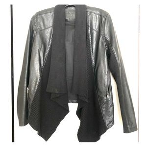 BlankNYC Faux black leather and cotton jacket.